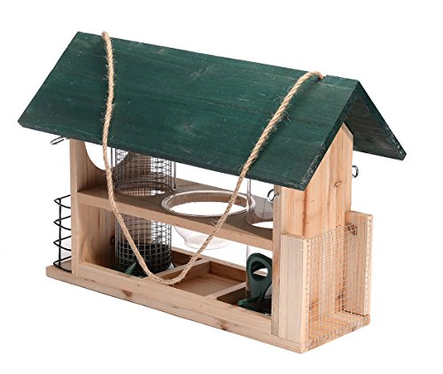 Bird Cedar House (Outside Fun Charming Cedar Wood Deluxe Green Bird House Feeder with Multi Perch and Feeding Compartments)