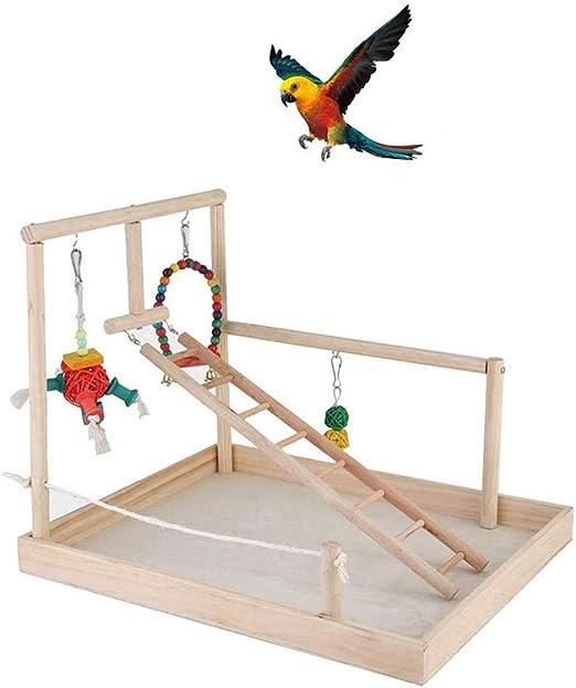 La Jaula De Pájaros Stand Para Loros, Loros Playstand Aves Juegos, Madera Perca Gimnasio Parque Infantil Soporte Escalera Con Juguetes Para Masticar Ejercicio Playgym Con Hueso De Juguete: Amazon.es: Hogar
