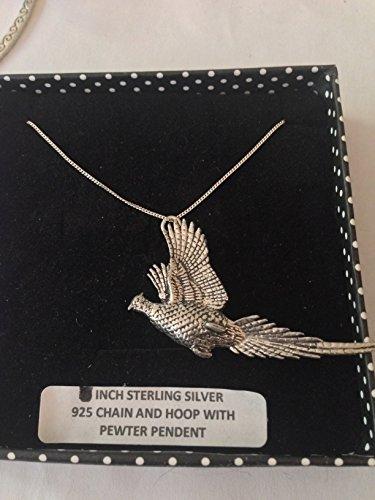 B24Lever Faisan collier pendentif en véritable Argent Sterling 925chaîne fait main 45,7cm avec prideindetails Boîte Cadeau