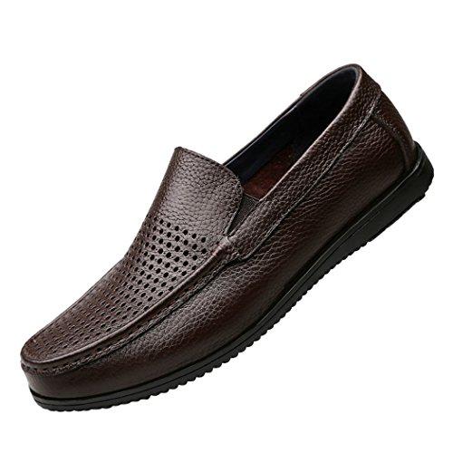Sun Lorence Hombres New Style Casual Slip-on Mocasín Holgado De Cuero Con Cordones Zapatos Transpirables Suaves Marrón Oscuro