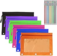 6 Pack Zippered Binder Pencil Case, YuCool 6 Color Pencil Pouch Holders with 6 Zipper Pulls 3 Rivet Enforced H