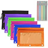 YuCool 6 Pack Zippered Binder Pencil Pouch with 6 Zipper Pulls, 3 Rivet Enforced Holes Pencil Case with Clear PVC Window, 10 Pack Wire Keychains (Multicolor)