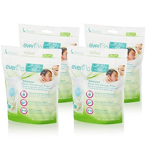 Evenflo Feeding Advanced Breast Milk Storage Bags for Breastfeeding - 5 Ounces (100 Count) by Evenflo Feeding (Image #1)