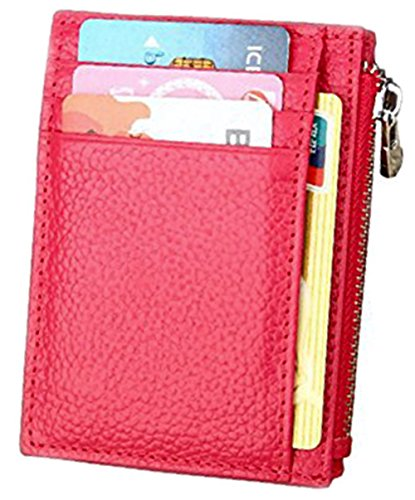 RFID Blocking Leather Slim Zipper Credit Card holder Wallet Card Case Purse (Rose with keychain) (Change Purse Card Holder)