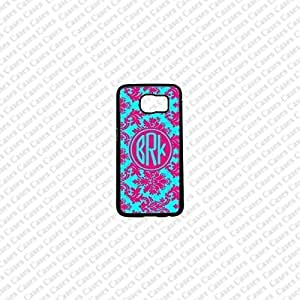 Krezy Case Monogram Samsung Galaxy S6 Edge Case, damask Pattern monogram Samsung Galaxy S6 Edge 2 Cover, Cute Samsung Galaxy S6 Edge Case, Cute Galaxy Edge2 Case
