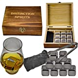 Deluxe Stainless Steel Whiskey Stones Gift Set - 9 Stones, Beautiful Hand Made Box, Tongs and Velvet Storage Bag - Never Water Your Drink Down Again