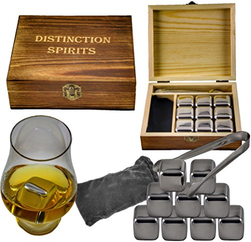 (Deluxe Stainless Steel Whiskey Stones Gift Set - 9 Stones, Beautiful Hand Made Box, Tongs and Velvet Storage Bag - Never Water Your Drink Down Again)