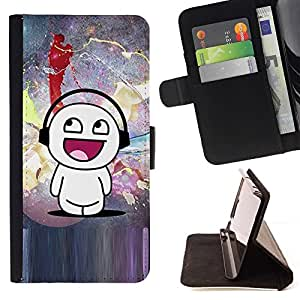 Momo Phone Case / Flip Funda de Cuero Case Cover - Cartoon Mand Arte Blanca Música Amor Felicidad - Sony Xperia Z5 Compact Z5 Mini (Not for Normal Z5)