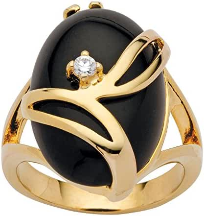 Oval-Shaped Black Onyx and Crystal Accent 14k Gold-Plated Cocktail Ring
