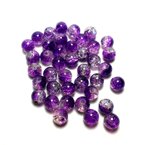 Moxx 2-tone 8mm Round Crackle Lampwork Glass Beads Purple/clear
