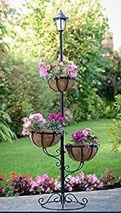 mb-solar flores maceta con 3niveles, con 3cestas colgantes y parte superior luz LED