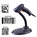 PowerRider Automatic 2D/1D Barcode Scanner QR/PDF417/Data Matrix Imaging USB Barcode Scanner CCD Bar Code Reader for Mobile Payment Computer Screen with Stand Holder
