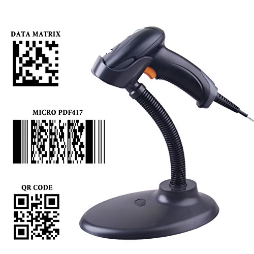 Powerrider Automatic 2D 1D Barcode Scanner Qr Pdf417 Data Matrix Imaging Usb Barcode Scanner Ccd Bar Code Reader For Mobile Payment Computer Screen With Stand Holder