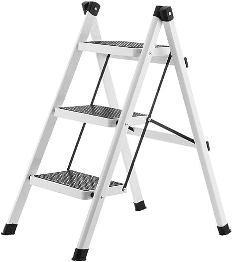 SSCYHT Escalera Taburete Plegable de 3 peldaños con Pedal Ancho Antideslizante Escalera de Acero Liviana portátil Resistente Rodamiento máximo 120 kg,Blanco: Amazon.es: Deportes y aire libre