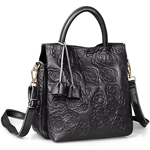 New Arrival Floral Embossed Handbags Crossbody Bags for Women Leather Satchel Purse by Jack&Chris,WB508 (Black)