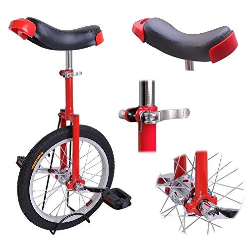 16-Inches-Wheel-Skid-Proof-Tread-Pattern-Unicycle-W-Stand-Uni-Cycle-Bike-Cycling-Red