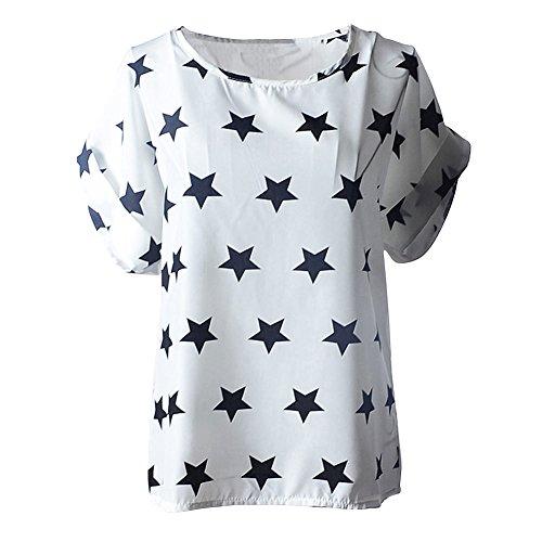 Souris de Manches Black Coeur T and Courtes Soie Femme oiseau blouses Stars Haut Vobaga Impression Mousseline Chauve Chemisiers White shirts en FSqCqwO8