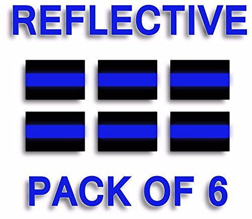 (EZ CUT PRO PACK OF 6 REFLECTIVE THIN BLUE LINE License Plate Decals Stickers Police Trooper)