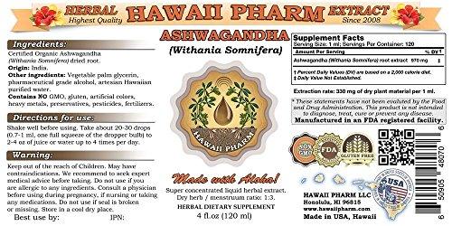 Ashwagandha Liquid Extract, Organic Ashwagandha Withania Somnifera Dried Root Tincture 4 oz