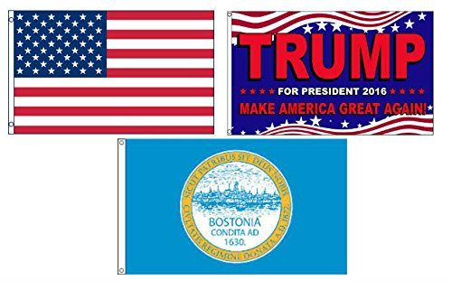 ALBATROS 3 ft x 5 ft Trump 2016 with USA American with City of Boston Set Flag for Home and Parades, Official Party, All Weather Indoors -