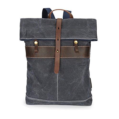 Sensexiao Bergsteigen Vintage Männer Frauen Rucksack wasserdicht Reißverschluss Canvas Daypack 14-Zoll-Laptop Student Outdoor Shopping Commerce (Farbe   Grau)