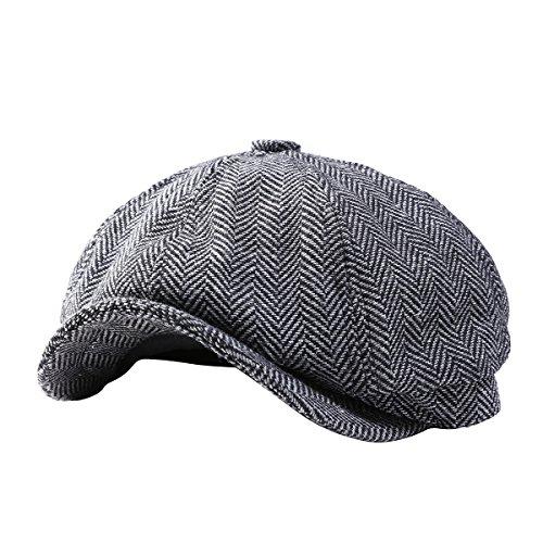 GESDY Mens Vintage Newsboy Ivy Cap Flat Octagonal Golf Driving Hat Beret Cabbie ()