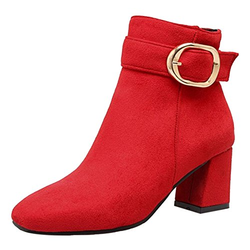 COOLCEPT Women Boots Zipper Red