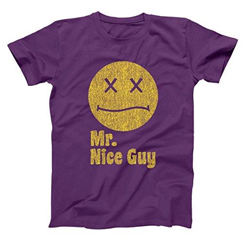 Mr Nice Guy Smiley Face Funny Weed Marijuana Retro Old School Movie Humor Mens Shirt Medium Purple