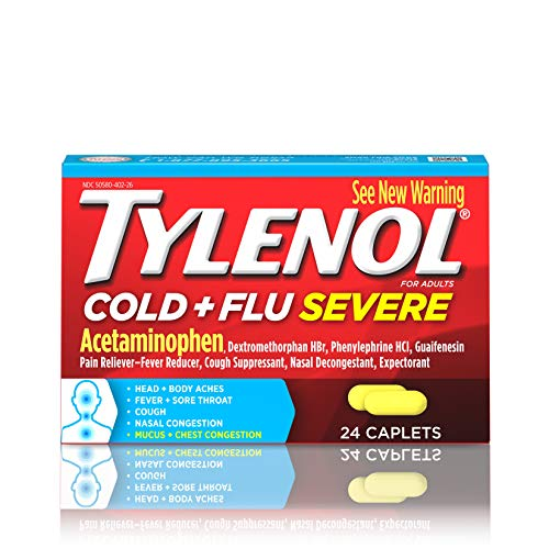 TYLENOL Multi Symptom Relief Cold and Flu Caplets for Adults With Acetaminophen, 24 Count, Pack of 1