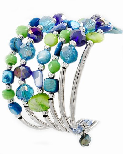 Spiral Bracelet with Rhodiumized Blue Glass Crystals & Green Shell (Glass Spiral Bracelet)