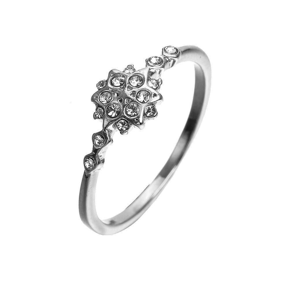 925 Sterling Silver Snowflake Ring for Womens, Cubic Zirconia CZ Diamond Eternity Engagement Wedding Band Ring