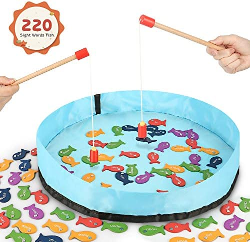 Gamenote Sight Words Wooden Magnetic Fishing Game - 220 Dolch Word2 Magnet Poles for Kindergarten Preschool Children (Activity Guide Include)