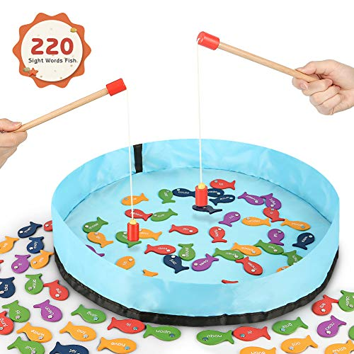 (Gamenote Sight Words Wooden Magnetic Fishing Game - 220 Dolch Word with 2 Magnet Poles for Kindergarten Preschool Children (Activity Guide Include))
