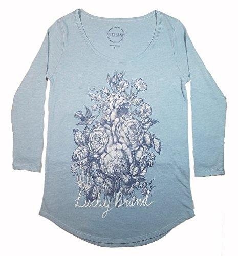 Lucky Brand Womens 3/4 Sleeve Scoop Neck Graphic Tee Shirt (Blue Rose, Medium)