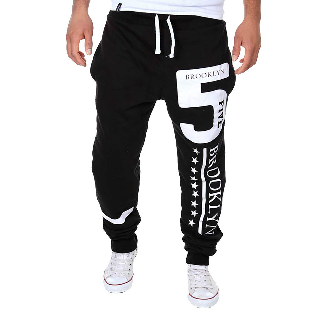 Molyveva Men Print Letter Casual Beam Foot Sweatpants Trousers Jog Sport Pants