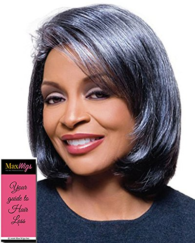 (Jamie Wig Color 280 - Foxy Silver Wigs Med Length Bob Synthetic Sweeping Side Fringe African American Lightweight Average Cap Bundle with MaxWigs Hairloss)