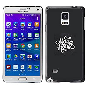 Be-Star Unique Pattern Hard Protective Back Case Cover Shell Skin For Samsung Galaxy Note 4 IV / SM-N910F / SM-N910K / SM-N910C / SM-N910W8 / SM-N910U / SM-N910G ( Mad House Music Black White Retro )