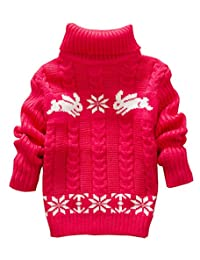Zhuannian Baby Toddler Girl Knitted Cartoon Rabbit Christmas Pullover Sweater