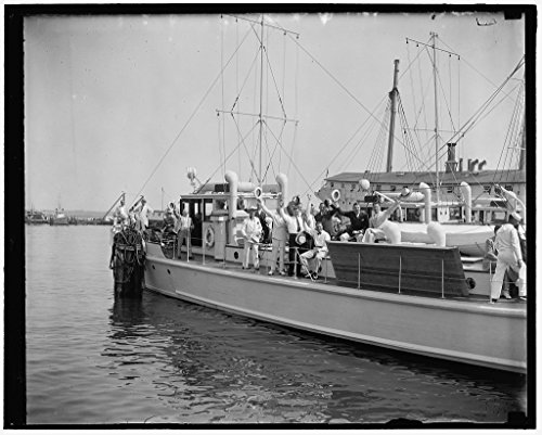 24 x 18 Art Canvas Wrapped Framed Print of Off For Jefferson Island. Annapolis, Md, June 25. Loaded To The Gunwale With Members Of The Cabinet And Democratic Members Of The Sen 1937 Harris & Ewing 49a (Cabinet Annapolis)