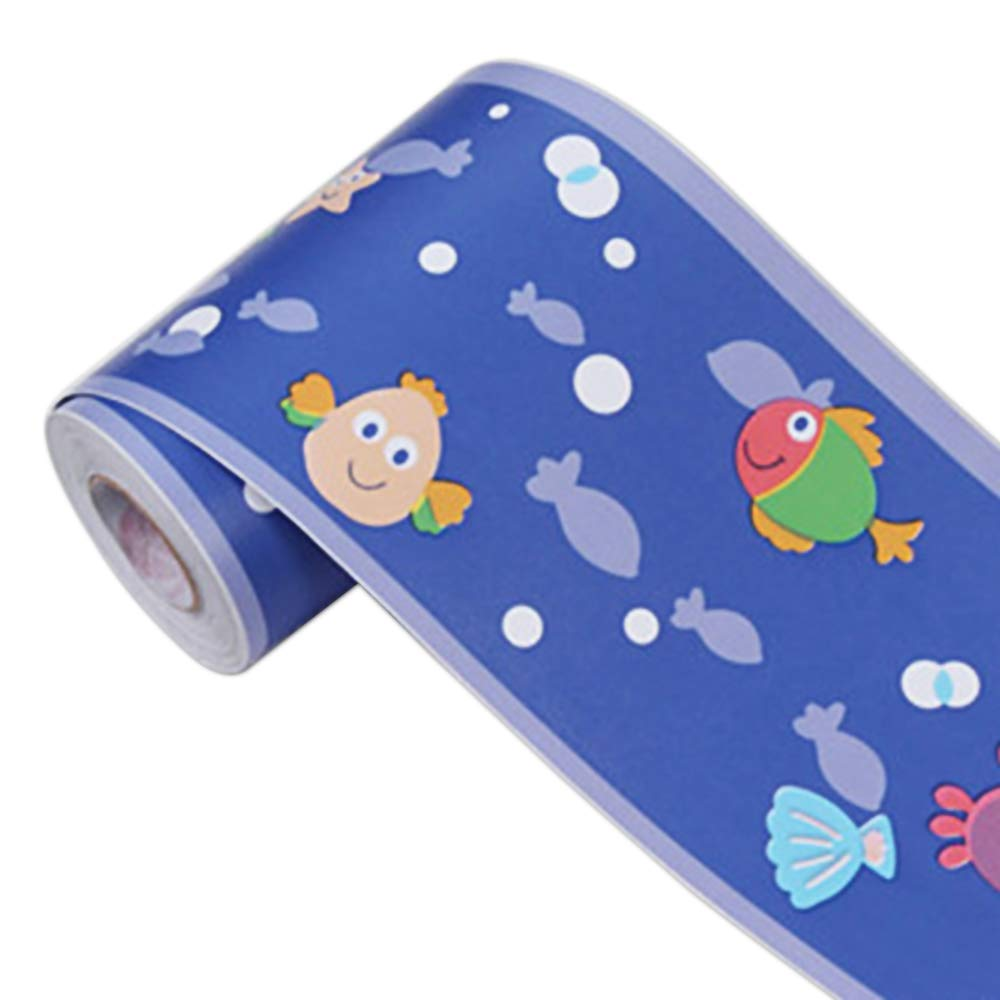 Deep Ocean Cartoon Fish Waterproof PVC Self Adhesive Wallpaper Border Stick and Peel Wall Borders for Kitchen Bedroom Wall Decor Wall Stickers for Kids Room 3.94 inch X 32.8 feet Yenhome