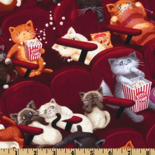 Timeless Treasures EL-857 Movie Theater Cats Fabric by The Yard, Maroon