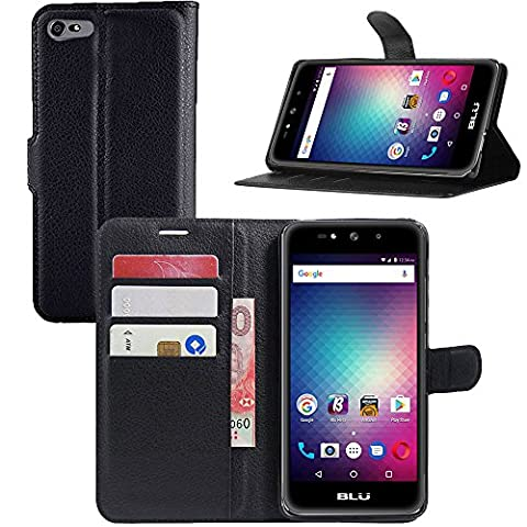 BLU Studio Selfie 3 Case, Gzerma PU Leather Flip Folio Magnetic Wallet Phone Cover with [Card Slot Holder], Soft TPU Shell for BLU Selfie3 S630Q 5.0 Inch Smartphone (Phone Wallet For Blu Studio Phone)
