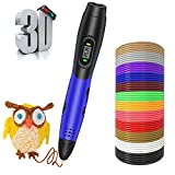 3D Pen with PLA Filament Refills, Smiler+ Newest 3D Printer Drawing Printing Pen LCD Screen Display with 12 Colors 120 Feet PLA Refills for Kids Adults Arts Crafts Model DIY