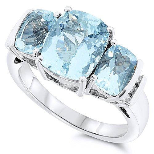 Gold Large Three Stone - 14k White Gold Three Stone Cushion Cut Large Blue Aquamarine Gemstone and Diamond Ring