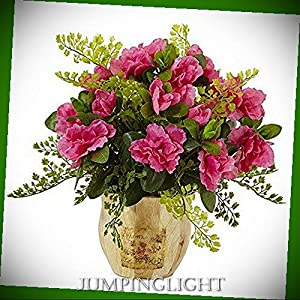 JumpingLight Azalea and Maiden Hair with Planter Artificial Flowers Wedding Party Centerpieces Arrangements Bouquets Supplies 68