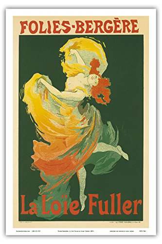 "Folies Bergères, La Loïe Fuller; Fuller was an American Can-can and Vaudeville Dancer at The Folies Bergère, a cabaret music hall, Paris, France; Belle Époque, Art Nouveau, Art Deco; Vintage French advertising poster; ""Les Maitres de l'Affiche"" by Jules Chéret c.1890's - Master Art Print - 12in x 18in"