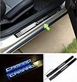 Niceautoitem LED Light (Blue Color Lights) Illuminated Door Sill Scuff Plate Cover for Chevrolet Camaro 2010-2016
