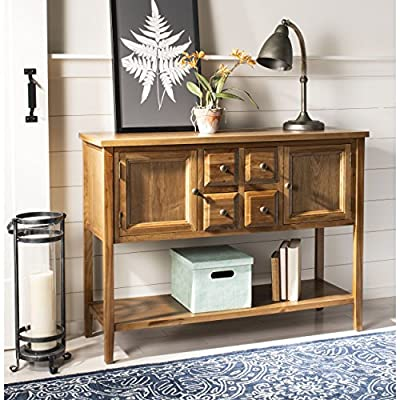 """Safavieh American Homes Collection Charlotte Medium Oak Sideboard - The medium oak finish of this sideboard will create a perfect accent to your home This sideboard features four drawers, each measuring 5.9"""" x 14"""" x 5.7"""", and two cabinets each measuring 12.5"""" x 14"""" x 10"""". Crafted of solid elm wood - sideboards-buffets, kitchen-dining-room-furniture, kitchen-dining-room - 51Fqh7Q447L. SS400  -"""