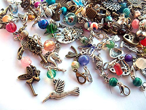 Set of 6 Beaded Zipper Pulls Charms or Stitch Markers Random Mix