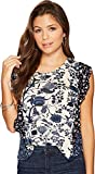 Lucky Brand Womens Printed Sleeveless Casual Top Navy XL